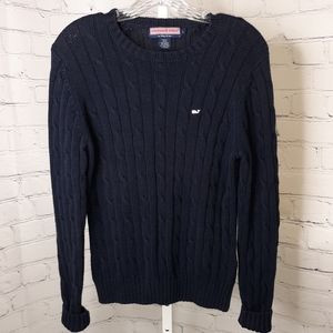 Vineyard Vines Women's Navy Cable Knit Sweater L